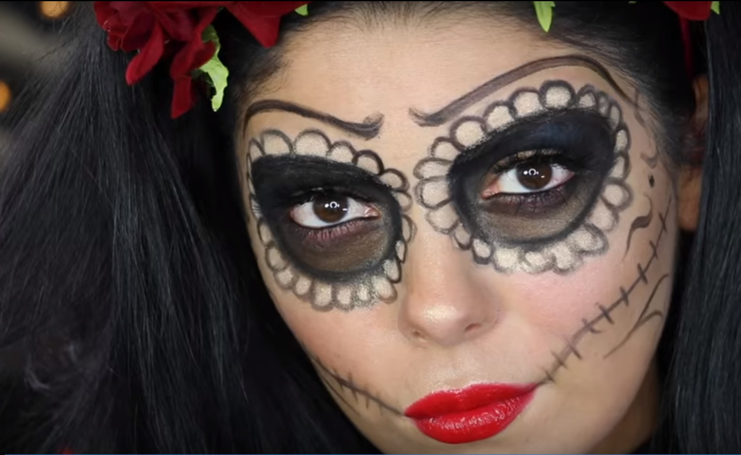 6 Easy Halloween Makeup Looks - Day-of-the-dead-makeup-tutorial-video